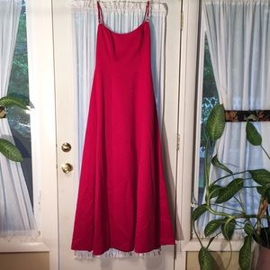 Red Jordan bridesmaid dress with shawl.